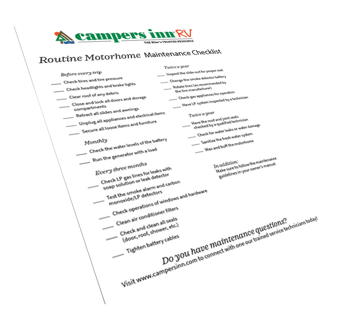 Motorhome Maintenance Checklist Book